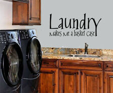 LAUNDRY MAKES ME A BASKET CASE STICKER WALL DECAL LETTERING LAUNDRY ROOM SIGN