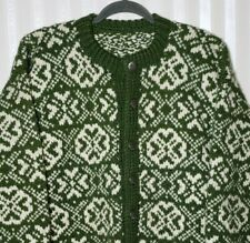 Vtg Men Sz M Hand Knit Homemade Cardigan Green Nordic Fair Isle Heavy Warm Wool?