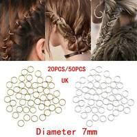 50x Dreadlock Beads Hairpin Hoop Ring DIY Updo Hair Accessories Punk Style UK