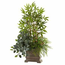 """Nearly Natural Mixed Mini Bamboo- Fittonia & Springeri with Planter- 38"""" NEW"""