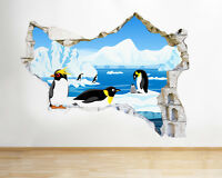 Q741 Penguins Cartoon Kids Bedroom Smashed Wall Decal 3D Art Stickers Vinyl Room