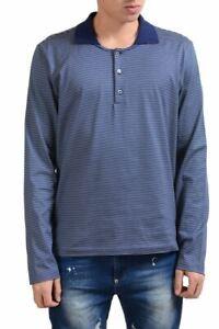 Malo Men's Striped Long Sleeve Polo Shirt Size L XL