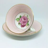 Cabbage Rose Pink Wide Mouth Rosina Tea Cup and Saucer Set England Vintage 1950s