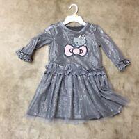 girls youth hello kitty gray sparkly tutu dress long sleeve 6 6x 10-19