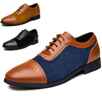 Men New Suede Leather Shoes Lace Up Casual Loafers Dress Formal Oxfords Shoes