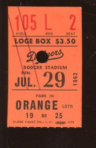 July 29 1962 Ticket Stub Giants at Los Angeles Dodgers Willie Mays Home Run EX+