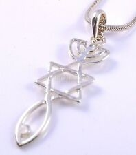 Collar de sello mesiánica hebraic raíces oro injertadas Estrella de David menorá Regalo