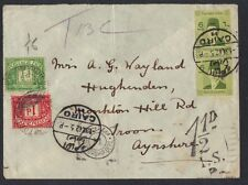 EGYPT TO UK 1942 CAIRO TO AYORSHIRE POSTAE DUE 1 1/2d APPLIED IN AYORSHIRE