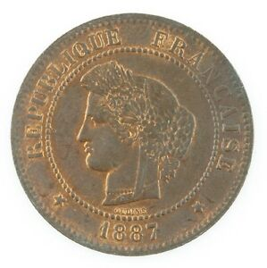 1887 France 5 Centimes Coin Red/Brown KM#821.1