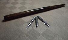 PORTE PLUME Bois foncé vernis   & 3 Plumes Différentes * NEUF * écriture calligr