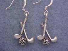 Golf Charm Handmade Earrings Putter Iron & Ball Silver Plate Pewter Charm SP