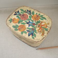 Antique Pennsylvania German Painted Bentwood Bride's Box Rosemaled Wood Pantry
