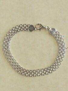 """Beautiful Italian 8"""" Sterling Silver 925  1/4""""  Woven Link Bracelet"""