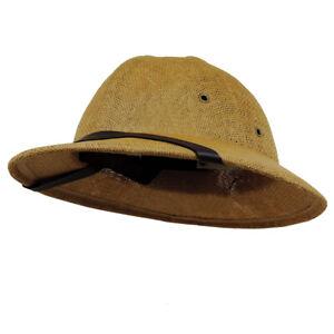African Safari Jungle Sun Hat Toyo Pith Helmet With Sweatband Dark Natural