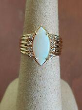 Vintage 14K Yellow Gold Opal & Diamond Ring 6.2 Grams Sz 6