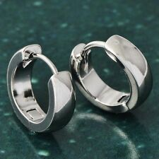 Mens Cool 14K White Solid Gold Filled Silver hip hop Punk Hoop Earrings