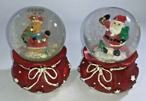 """Lot of 2 Small Christmas Water Snow Globes, 2.5"""" tall Santa and Christmas Puppy"""