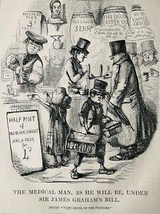 c1845 Antique Victorian Print SIR JAMES GRAHAM'S MEDICAL BILL - THE MEDICAL MAN