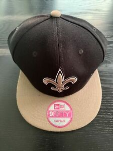 New Orleans Saints New Era 9Fifty 2 Tone Black Gold On Field Snapback Hat NFL J2
