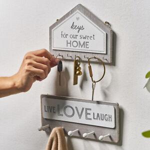 Wooden Wall Mounted Home Sweet Hanging Hanger Hooks Clothes Key Holder Rack Hook
