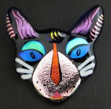 Alley CAT PIN & Pendant Mystical Purple Dichroic essential Glass works blue