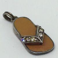 Vintage Retro 925 Silver Tan Enamel Glass Diamanté Shoe Sandal Pendant Charm CI