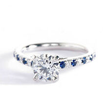 1.15Ct SI2 G Round Cut  Blue Sapphire and Diamond Engagement Ring in Platinum