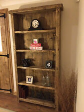 BESPOKE HANDMADE RUSTIC FARMHOUSE CHUNKY WOODEN BOOKCASE - WAX FINISHED