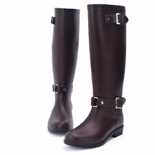 Women's Knee High Rain Boots Ladies Mid-Calf Rubber Shoes Strap Work Boots
