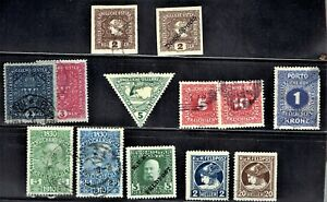 1910-  AUSTRIA  EMPIRE Mixed Lot of 13 Mint/H/Used