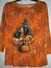 NEW! COLLECTIONS Orange & Black HALLOWEEN Print TOP w/ CATS ~ MED / Bust to 38""