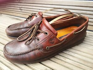 Men's Brown Leather Timberland Boat/Loafer Shoes Size Uk9