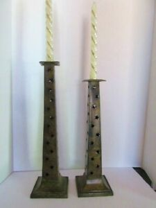 Set of 2 Tall Rustic Metal Column Candle Holders Perf Stars Hand made in India
