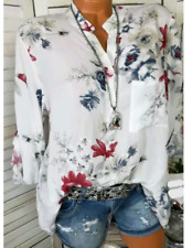 Loose Tunika Schlupf Blusenshirt Floral Weiß Turn Up Ärmel 44 46 48 *Neu*