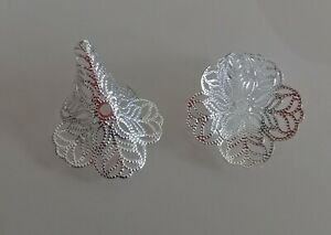 FILIGREE TRUMPET LILY FLOWER BEAD CONES FINDINGS - Silver