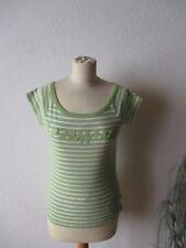 Street One Damen Shirt Gr.36 grün-weiß gestreift kurzarm