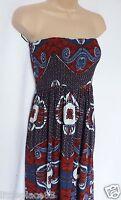 NEXT BNWT summer  bandeau navy red floral print side pockets maxi dress 10/12