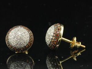 Red Diamond Earrings 10K Yellow Gold Round Pave Domed Circle Studs 0.90 Tcw.