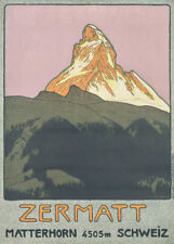 Vintage Ski Posters ZERMATT, Swiss, 1908 by Emil Cardinaux, 250gsm Travel Print