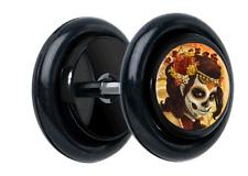 "Pair ""Cierra"" Day Of The Dead CHEATER FAKE EAR GAUGES PLUGS EARRINGS 5100"
