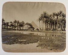 Egyptian Landscape Albumen Print: Pyramid Scene. Port Said Circa late 1800's