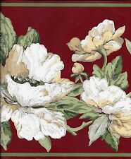 White Floral on Red with Green Trim Wallpaper Border