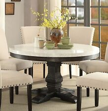 NEW LUCIA WHITE MARBLE TOP WEATHERED BLACK WOOD ROUND PEDESTAL DINING TABLE