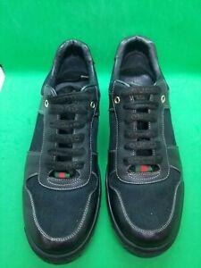 Gucci  Men's Low Black Signature Monogram Leather Sneaker 162961 Shoes Size 7