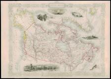 "1850 ""British America"" Canada Greenland Antique Map Tallis with Vignettes (12d)"