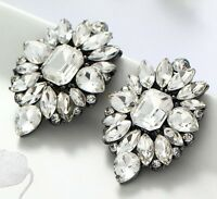 1 Pair Elegant White Crystal Rhinestone  Ear Drop Dangle Stud long Earrings 191