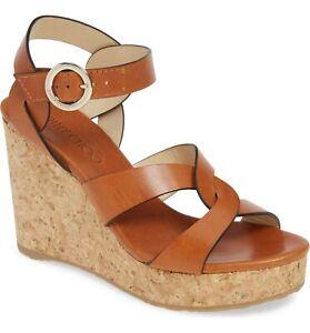NIB Jimmy Choo Women's Brown Aleili Cork Wedge Sandal 38 EU 7.5 US