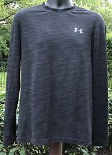Under Armour Black Fitted Long Sleeve Workout Shirt HeatGear Threadborne Large