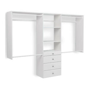 Easy Track Deluxe Tower Closet Storage Organizer with Shelves and Drawers, White