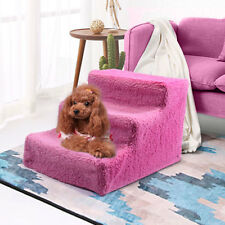 Pink 3 Steps Pet Stairs Ladder Indoor Cat Dog Ramp Animal Ladder w/Cover